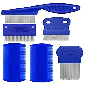 weback Flea Comb, Lice Combs, Tick Comb, Dog Cat flea Combs with Durable Teeth for Remov-ing Tear Stains, Fleas, Dandruff, Lice