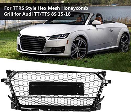 Auto ABS Front Kühler Grille für Audi TT/TTS / 8S / 2015-2018, Rennauto Nieren Kühlergrill Kappe Frontstoßstange Grille Mesh Waben Haube Grill Auto Dekoratives Zubehör