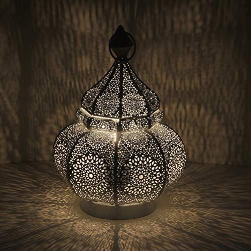 Casa Moro - Fahid Lámpara de mesa (30 cm de altura, casquillo E14, metal), lámpara de cabecera, diseño oriental, color blanco oro   LN2080