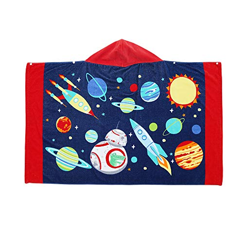 InsHere 100% Cotton Kids Hooded Towel Galaxy for Boy & Girl, Extra Large After Bath Beach Pool Wrap Towel with Hood for Big Kids Toddler, Super Absorbent & Soft Towel Poncho with Cute Cartoon Design