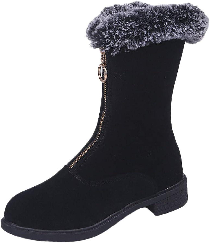 Goodtrade8 Knee High Boots for Women, Junior Girl Winter Leisure Flock Zipper Flat shoes Platform Keep Warm Snow Boots (7, Black)