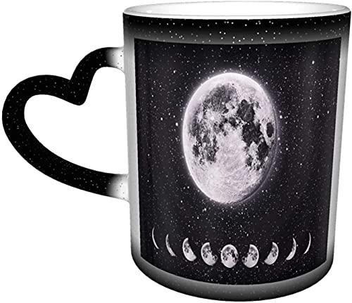 Luna Eclipse lunar Galaxia Universo Estrellas Cielo nocturno Magia Taza sensible al calor que cambia de color En el cielo Tazas de café con arte divertido Regalos personalizados para amantes