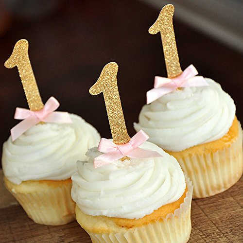 Pink and Gold 1st Birthday Decorations. Number Cupcake Toppers 12CT.