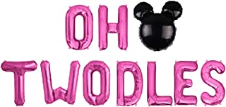 Geloar Oh Twodles Balloons Banner, Oh Twodles 2nd Birthday Party Decorations for Themed of Minnie Micky Mouse for Girl Boy...