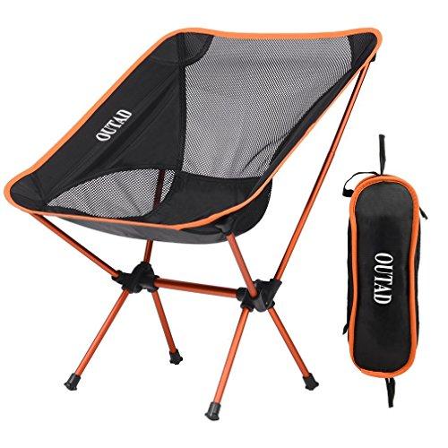 OUTAD Ultralight Outdoor-Picknick Angeln Camping Klappstuhl Robust und langlebig Lage Version Ⅱ mit Kissen und erweiterte Länge, Orange