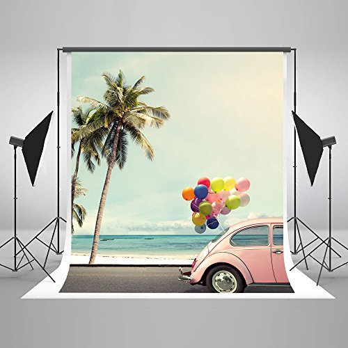 5x7ft Cotton Polyester Blue Sky Sea White Sands Car Balloons Wedding Decorations Photography Backdrop Seamless No Creases Folding and Washable Photo Booth Background