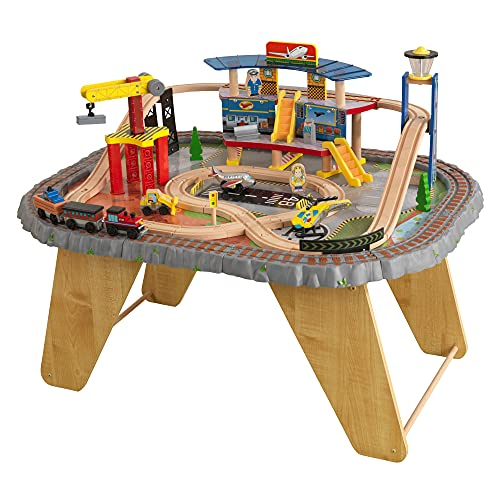 Product Image of the KidKraft Transportation Station Wooden Train Set and Table with Airport,...