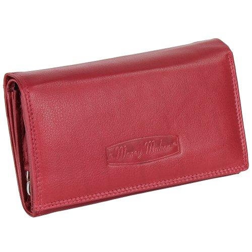 Ledershop24 RFID Damen Leder Geldbörse Damen Portemonnaie Damen Geldbeutel - Lang Rot Leder - Geschenkset + exklusiven Schlüsselanhänger