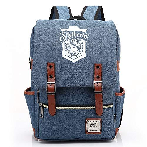 NYLY Adolescente casuale retro rucksack hogwarts School Slytherin Academy zaino magico borsa Grande Blu C