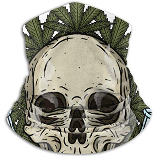 Linger In Calentador de Cuello Calavera Calavera Bong Hojas de Marihuana Bufanda Rastaman, Polaina de Cuello, Gorra de Cuello Media máscara Pasamontañas Sombreros
