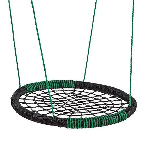 FATMOOSE Balançoire BuddyRider balançoire nid d'oiseau pour plusieurs enfants, ovale, noir-vert, 108x84cm