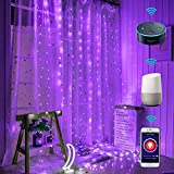 LED Curtain Lights WiFi Smart Twinkle String Window Lights Work with Echo Alexa Google Assistant|Remote APPlTimer|Million Colors Pink Green Blue Purple |USB Powered|9.8x7.6 FT/3x2.3m(SCL)