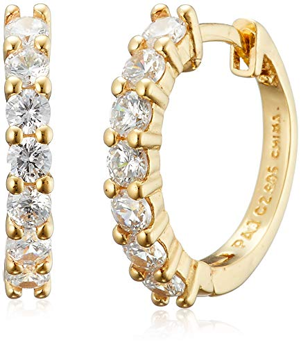 Amazon Essentials Yellow Gold Plated Sterling Silver Hinged Huggie Hoop Earrings