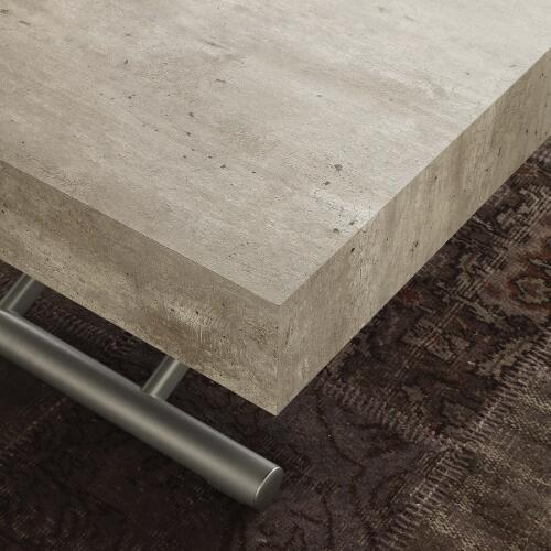 La Seggiola Tavolino trasformabile allungabile - K2, Piano Color Cemento e Gambe Alluminio (Art. Block)
