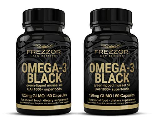 FREZZOR Omega 3 Black, Green Lipped Mussel Oil New Zealand,  UAF1000+, Joint Pain Relief and Inflammation Supplement, Heart and Immune Support, No Fishy Aftertaste, 450mg, 2 Pack, 120 Count