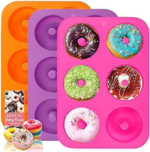 HEHALI 3pcs Non-Stick Silicone Donut Mold, Bagel Doughnuts Pan for Baking in Clearance, Tray Measures 10x7 Inches