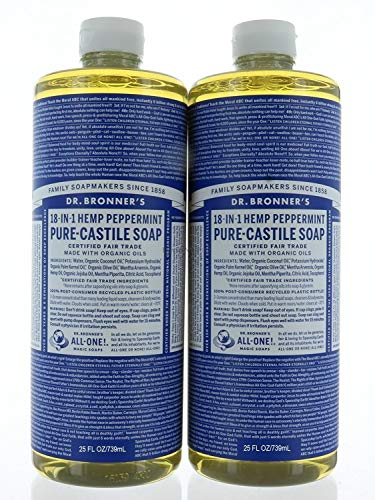 Set 2, Dr. Bronner's Organic Soaps Pure-Castile Soap, 18-in-1 Hemp Peppermint, 25 FL/739mL Each