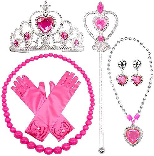 SPECOOL Gilrs Princess Habiller Accessoires 6 Pièces Coffret Cadeau Gants Princesse, Couronne Tiara et Baguette, Colliers pour Enfants (Rose)