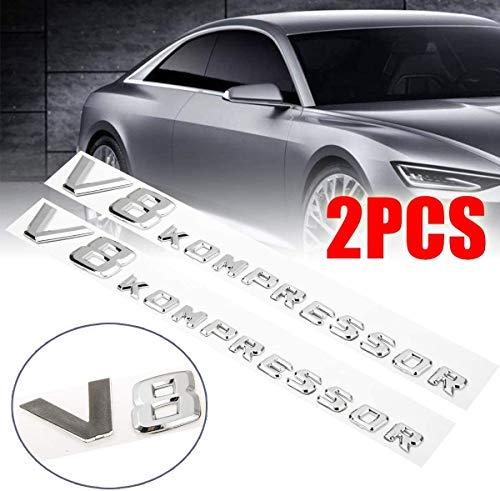 TBJDM 2PC Hochwertige ABS 3D Aufkleber Autoseite Kotflügel Buchstabe V8 Kompressor Emblem Abzeichen Dekoration Geeignet für Mercedes