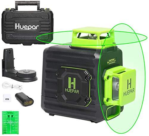 Huepar 2 x 360 Kreuzlinienlaser Grüner Selbstnivellierenden Laser Level, Zwei 360°-Laserlinie, Li-Ionen-Akku mit Ladeanschluss Typ C, Hartschalenkoffer enthalten - B02CG