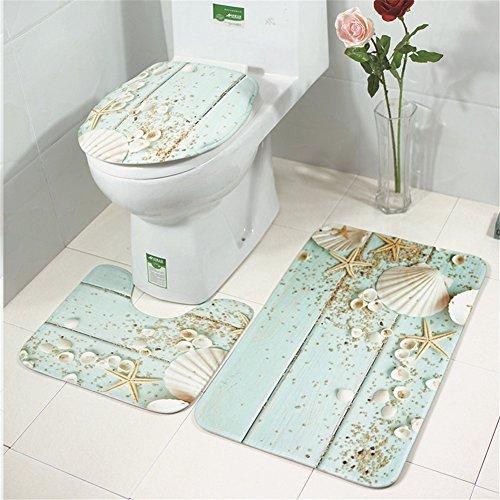 Moolecole Beach Seashells Starfish Sand Bath Mat Holidays Summer Bathroom Carpet Rug Non-Slip 3 Piece Toilet Mat Set (Starfish/Shell)
