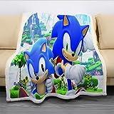 WFQTT Ropa de cama infantil, manta 3D Sonic, manta ultrasuave, manta de franela cálida, manta de felpa, cama de sofá para cama, sofá o silla (1,60 x 50 pulgadas)