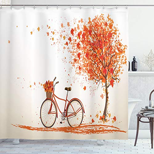 """Ambesonne Bicycle Shower Curtain, Autumn Tree with Aged Old Bike and Fall Tree November Day Fall Season Park Nature Theme, Cloth Fabric Bathroom Decor Set with Hooks, 75"""" Long, Orange"""