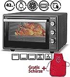 Minibackofen mit Umluft 42 Liter | Pizza-Ofen | Mini Ofen | Innenbeleuchtung | Doppelverglasung | Timer Funktion | Emailliert Anthrazit | ICQN