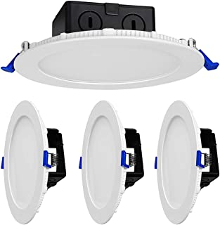 4 Pack LED Recessed Lighting 6 inch 12W Ceiling Light Panel Dimmable Ultra-Thin Downlight Round Slim lamp 3000K 900LM Bright Home Office Commercial Lighting … (6in 12w)