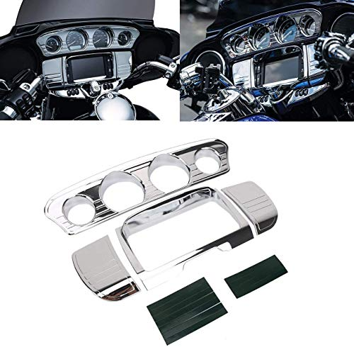 buyinhouse Motorcycle Accessory Tri-Line Gauge Stereo Trim Fit for 2014-2019 Harley Davidson Touring Electra Glide Street Glide Ultra Limited & Tri-Glide Ultra, Chrome