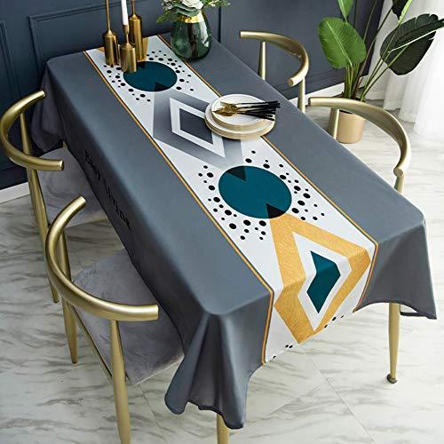 Katoenen tafelkleed, rechthoek tafelkleed katoen linnen kreukvrij, wasbaar tafelkleed voor keuken dineren,Gray,140 * 220cm