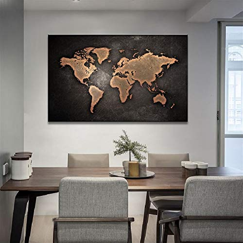 Ölgemälde Huge Schwarz Weltkarte Malerei Druck Auf Leinwand HD Abstrakte Weltkarte Leinwand-Malerei Büro-Wand-Kunst-Ausgangsdekor Wandbilder (Color : A1, Size (Inch) : 12X18)