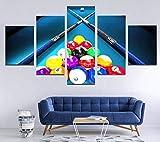 Billar Mesa de Billar Hombre Regalo Creativo 5 Paneles Lienzo Arte de la Pared Impresiones en Lienzo Hogar Moderno Sala de Estar Decoración Decoración del Dormitorio Cartel de impresión HD