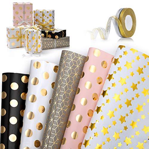 Geschenkpapier, 5 Blatt Geschenkpapier Geburtstag und 2 Rolle Band, Geschenkpapier Kinder,Geschenkverpackung Papier,Goldprägung Regenbogen Design Für Geburtstag, Feiertag, Hochzeit, Babyparty
