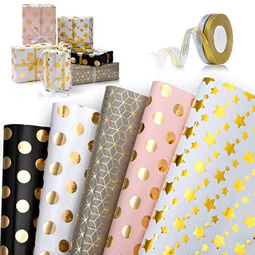 Geschenkpapier, Geschenkverpackung Papier Geschenkpapier Weihnachten Kinder Packungen Geschenkpapier mit 5 Verschiedene Designs und 2 Rolle Band für Weihnachten, Kindertag, Valentinstag, Muttertag