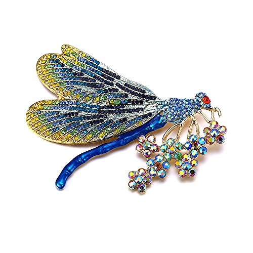 QXZ-WOLFBERRY Broches de Animales for Mujer Gold KPOP Pins Dragonfly Broche Femme Crystal Party Jewelry Regalo (Color : Blue Gold)
