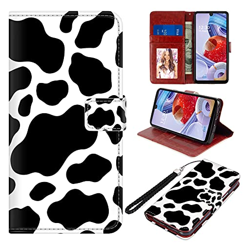 """LG Stylo 6 Wallet Case PU Leather Folio Flip Cover Cow Print Magnetic Credit Card Holder Protective with Hand Wrist Strap Kickstand Women Girls Cute Pattern Cell Phone Case for LG Stylo 6 6.8"""""""