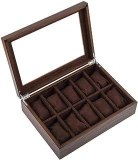 HEMFV Watch Box, 10 Slots Watch Case with Valet, Glass Topped Wooden Watch Display Case Watch Organizer, Jewelry Storage C...
