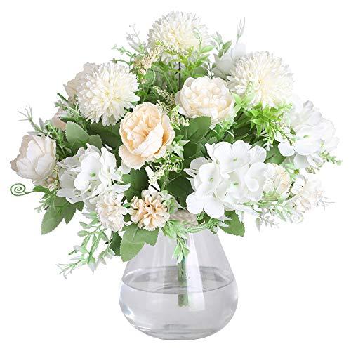 JUSTOYOU Confezione da 3 Bouquet di ortensie di peonia Seta finte Artificiali finte Grave Home Spring Bellissima Ortensia Fiore Artificiale per Decorazioni da Giardino per Matrimoni (Bianco)