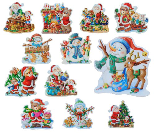 alles-meine.de GmbH 1 Stück XL Fensterbild - Weihnachtsmann Weihnachten Schneemann Glitter Glitzer - Sticker Fenstersticker