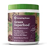 Amazing Grass Green Superfood Antioxidant: Super Greens Powder with Spirulina, Elderberry, Bilberry & Probiotics, Sweet Berry, 30 Servings