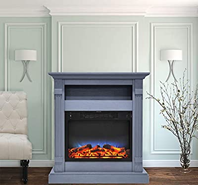 CAMBRIDGE Sienna 34 in. Electric Fireplace w/Multi-Color LED Insert and Slate Blue Mantel