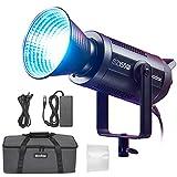 Godox SZ150R 150W Zweifarbig zoombares RGB-LED-Videolicht, CRI 97 TLCI 96, 2800K ~ 6500K einstellbar, 0% -100% Helligkeit, 37 FX-Effekte, Unterstützt APP-Steuerung/DMX-Steuerung mit Barndoor-Kit