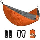 Double Camping Hammock Lightweight Parachute Nylon | Portable Hammocks with Tree Straps | Hammock 2 Person Heavy Duty | Hammock Backpacking for Camping, Backyard, Hiking, Beach (Orange & Gray)
