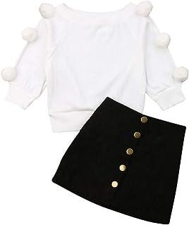 ملابس داخلية للأطفال الصغار لفتاة الخريف الشتاء محبوك سترة بلوزة علوية قصيرة تنورة فستان أزياء