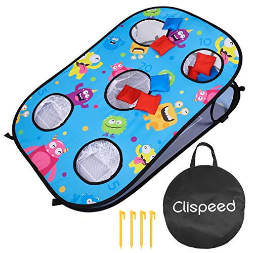 CLISPEED 2 in 1 Wurfspiel Set Cornhole Spiel Tic Tac Toe Double Games mit 10 Bean Bags (Blau)
