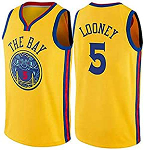 Jerseys De Baloncesto De Los Hombres, NBA Jersey Looney # 5 Warriors, Vintage Fresco Transpirable Tela All-Star Unisex Uniform Uniforme,Amarillo,S165~170cm