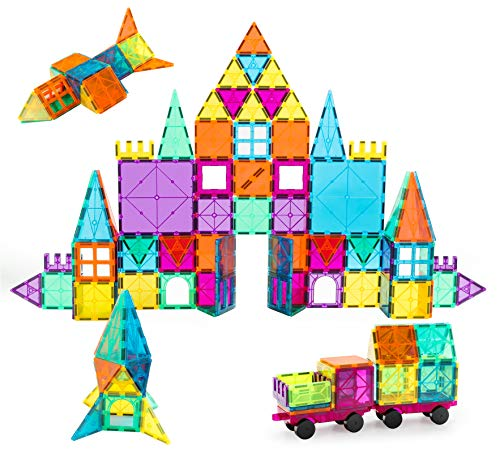 Neoformers Magnetic Building Tiles, 110 Pcs 3D Magnetic Building Blocks Set for Kids, STEM Educational Preschool Magnet Toys for Toddlers Boys Girls 3 4 5 6 7 8 Year Old with 2 Cars
