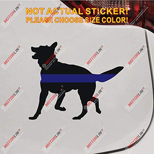 German Shepherd Thin Blue Line K9 Unit Dog Decal Sticker Vinyl Reflective Glossy Pick Size (Glossy, 3''(7.6cm) x 2.5'(6.2cm))