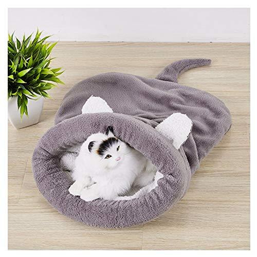 Aqiong KAERMA zachte velveteen kat bedden winter warm huisdier verwarmde mat kleine hond puppy huisdier kennel huis voor kattenslaapzak Nest Cave bed huisdieraccessoires (kleur: grijs, maat: 65x55cm)